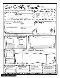 Instant Personal Poster Sets: Cool Country Report | 30 Big Write-and-Read Learning Posters | A wonderful way to connect language arts and social studies!