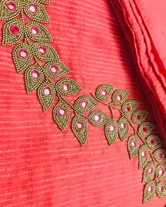 Ideas For Embroidery Designs Dress Beading Hand Work Blouse Design, Simple Blouse Designs, Stylish Blouse Design, Fancy Blouse Designs, Blouse Neck Designs, Embroidery On Kurtis, Kurti Embroidery Design, Hand Embroidery Dress, Embroidery Neck Designs