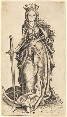 Saint Catherine of Alexandria by Martin Schongauer, Saint Katherine, Saint Barbara, Catholic Art, Religious Art, Martin Schongauer, St Catherine Of Alexandria, Biblical Art, National Gallery Of Art, Art Institute Of Chicago