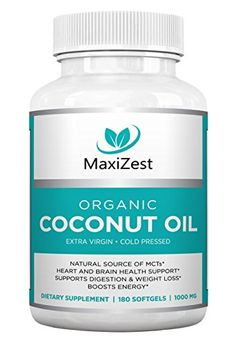 Extra Virgin Organic Coconut Oil Capsules Enhances Skin Hair Nails Supports Heart Brain Health Digestion Healthy Weight Loss Natural Source of MCTs 180 Softgels *** Check out this great product. Coconut Oil Uses For Skin, Pure Coconut Oil, Cooking With Coconut Oil, Extra Virgin Coconut Oil, Benefits Of Coconut Oil, Coconut Oil Capsules, Brain Health, Healthy Weight Loss, Health And Beauty