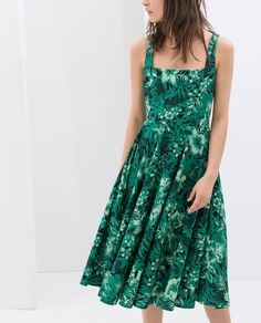 Image 2 of PRINTED DRESS WITH WIDE STRAPS from Zara