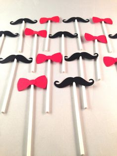 16 Cupcake Toppers: Bows & Mustaches. Red black and by popofgold