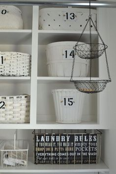 How I Organized My Open Cabinets in the Laundry Room CHEAP! - It all started with needing to add a pole to hang laundry on in my laundry room. That meant taking…