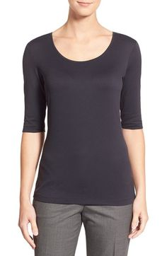 BOSS Scoop Neck Stretch Jersey Top available at #Nordstrom