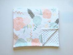 Summer blooms minky baby blanket   floral nursery   vintage retro flowers   blush peach mint aqua nursery    by WilderAndBean