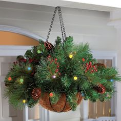 Get these moss baskets when they go on clearance this summer. Add a few springs of garland, some battery operated lights, and add some pine cones and holly for this wonderful porch decoration. No need to buy one, make one! I can do this! Love it! christmas