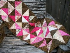 Pink Brown Batik Table Topper Triangles Mocha by atthebrightspot