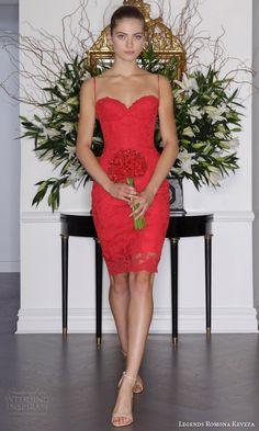legends romona keveza fall 2016 red wedding dress garden lace mini dress corset bodice spaghetti straps l6131