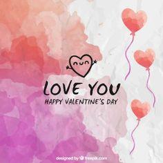 Fondo del día de San Valentín de acuarela