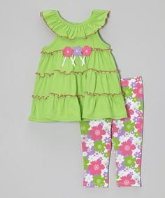 Loving this Green Floral Ruffle Yoke Tunic & Leggings - Toddler & Girls on #zulily! #zulilyfinds
