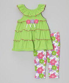 Loving this Green Floral Ruffle Yoke Tunic & Leggings - Toddler & Girls on #zulily! #zulilyfinds