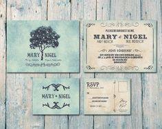 Custom Listing for Rosalind - Set of 100 - Double-Sided - Romantic Tree Lights Wedding Invitation, Postcard RSVP  - Wedding Stationery via Etsy