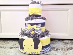 3 Tier Elephant Diaper Cake Yellow and Gray, Baby Shower Centerpiece on Etsy, $45.00