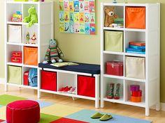 colorful storage works white into color scheme