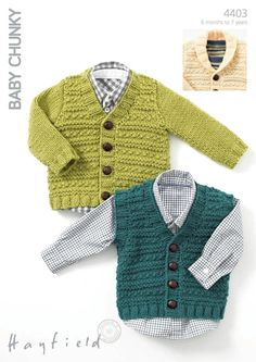 Textured Cardigan and a Waistcoat in Hayfield Baby Chunky - 4403. Discover more Patterns by Hayfield at LoveKnitting. The world's largest range of knitting supplies - we stock patterns, yarn, needles and books from all of your favourite brands.