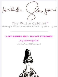 Hilda Glasgow vintage fashion illustrations - 3 day sale July 1-3, 2013.  http://www.thewhitecabinet.com