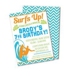 Surf Birthday Party Invitation