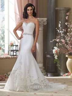 Beaded Sweetheart Lace Appliques Mermaid Wedding Dresses with Jeweled Band Waist - LightIndreaming.com