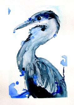 Great Blue Heron Watercolor Art Print  Bird by RedbirdCottageArt, $20.00
