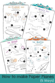 How to make paper planes. Folding instructions for paper planes, from simple to the complex. Classic origami activity for kids