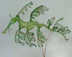 Small leafy seadragon by Cristina Metelli Leafy Sea Dragon, Tile Art, Sea Creatures, Metal Art, Fascinator, Art Lessons, Plant Leaves, Collage, Seahorses
