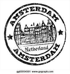 Holland Stamp Black Grunge Rubber With Old Houses And The Word Amsterdam
