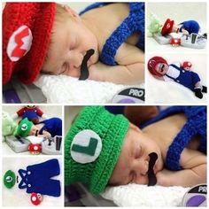 Conjunto newborn Mario ou Luigi - Art Crochê - acessorios newborn conjuntos toucas e mantas para bebês