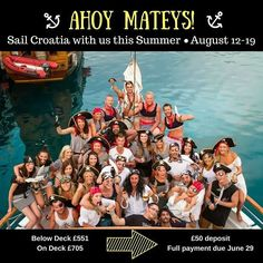 Ahoy Mateys!  #SailCroatia with us this #Summer & enjoy 8 splendid days #sailing the #DalmationCoast from #Dubrovnik to #Split on our exclusive #boat with @busabouteurope.  COST: Below Deck 551 usually 649 On Deck 705 usually 829  WHAT'S INCLUDED: -English speaking #Busabout Guide -7 nights accommodation 7 breakfasts (B) 7 lunches (L) -#Island orientation walks -Orientation #tour of Dubrovnik -Boat captain and crew -Bedding on the boats -1 litre of drinking water per person per day  Book…