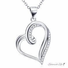 Anhänger Herz mit Zirkonias aus 925 Silber...