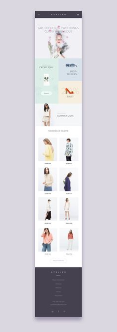 ATELIER - beauty store / mobile version by Michael Korwin Web Mobile, Mobile Web Design, Iphone App Design, Ios Design, Flat Design, Homepage Design, Email Design, Web Layout, Portfolio Design