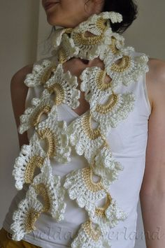Crochet scarf, scarflette, neckpiece feminine romantic lace ivory beige - White Orchid by EveldasNeverland, $44.00
