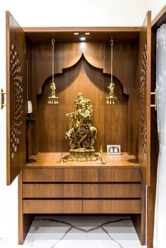Luxurious Penthouse Interior design is a showcase of the bond between the traditional and the modern minimalistic lifestyle - MEDITATION ROOM IDEAS - Door Design Altar, Pooja Room Door Design, Home Room Design, Modern House Design, Modern Interior Design, Room Interior, Interior Design Living Room, Temple Design For Home, Wooden Temple For Home