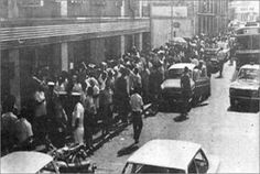In the capital, Luanda, people waiting to buy an airline ticket to leave Angola in 1975.