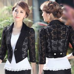 blazer and tshirt outfit Lace Blazer, Lace Jacket, Blazer Pattern, Jacket Pattern, Black And White Blouse, Mode Vintage, Blouse Designs, Lady, Mantel