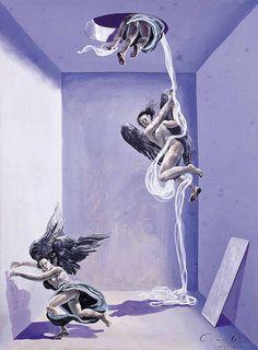 Serie Dramas, 1993. Témpera sobre cartón corrugado, 74 x 53 cm.