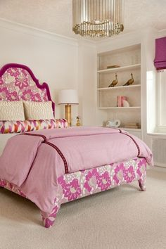 Mo needs a new bedroom makeover! Lauren Nelson Design - Chic girl's bedroom with Oly Studio Grayson Chandelier, pink & purple floral headboard and built-ins w damask wallpaper.a bed fit for a princess :) Hot Pink Bedrooms, Teen Girl Bedrooms, Dream Bedroom, Home Bedroom, Bedroom Ideas, Decoration Bedroom, Pink Room, Little Girl Rooms, Beautiful Bedrooms