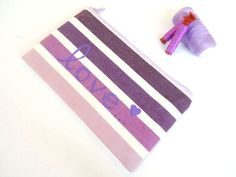 Zipped Pouch in Lilac Purple Ombre with Handpainted Love Message - Make up Bag - Cosmetics - Pencil Case - Bag organizer pouch