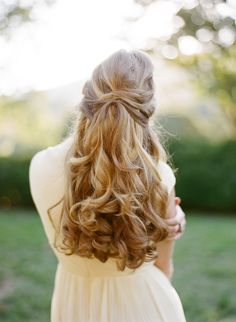 Beautiful half up/half down wedding hair.