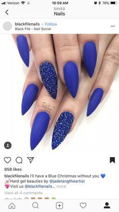 Best Ideas For Royal Blue Glitter Nails Beautiful Blue Glitter Nails, Burgundy Nails, Blue Sparkles, Gold Nails, Black Nails, White Nails, Cobalt Blue Nails, Wedding Pedicure, Rhinestone Nails