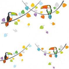 Ce sticker les toucans de la marque Série-Golo apporte un décor ludique et coloré à la chambre d
