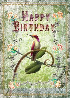 Happy Birthday Birds, Happy Birthday Vintage, Happy Birthday Wishes Cards, Birthday Card Sayings, Birthday Sentiments, Birthday Blessings, Happy Birthday Images, Funny Birthday Cards, Facebook Birthday Wishes