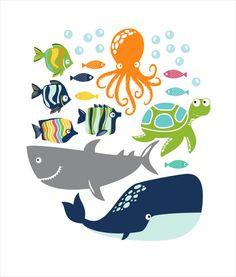 Un conjunto de etiquetas de cuarto de baño con peces rayas, una ballena, tiburón, pulpo, tortuga y burbujas que coordina con la colección de baño de pescado blanco. Los peces rayas peces pequeños medida 3 pulgadas x 1,5 pulgadas, miden aproximadamente 5x 3, la ballena es de 18 x 8, tiburón es 17 x 8, pulpo es 8 x 11 y la tortuga es 10 x 7.  Etiquetas adhieren mejor a superficies planas, lisas. Se adhieren a las paredes con textura. Las etiquetas están impresas en vinilo de tela adhesiva y…