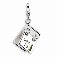Roy Rose Jewelry Sterling Silver Amore la Vita Polished Skeleton Key w//Lobster Clasp Charm