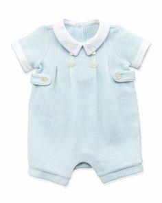Mesh-Knit Shortall, Blue, 3-12 Months   by Ralph Lauren Childrenswear at Neiman Marcus.