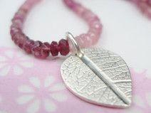 Silber Anhänger Blattmaserung Turmalinketten rosa