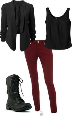 I like all of this. The burgundy pants look fun and not too flashy.