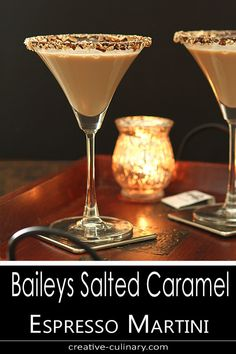 The Bailey's Salted Caramel and Espresso Martini is a fantastic dessert cocktail for the holidays; from Valentine's Day to the end of the year...it's totally delicious! Whisky Cocktail, Baileys Cocktails, Cocktail Desserts, Holiday Drinks, Cocktail Drinks, Fun Drinks, Yummy Drinks, Cocktail Recipes, Christmas Cocktails