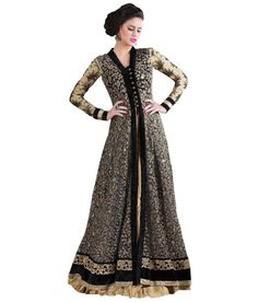11425eb2e70 Vbuyz Black Net Anarkali Gown Semi Stitched Dress Material Price in India -  Buy Vbuyz Black