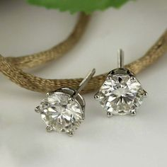 901fb0a6d 2 Ct Round Cut Diamond Solitaire Six Prong Stud Earrings 14k White Gold  Over #ForeverDiamond