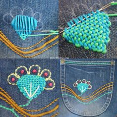 stitchydoo: Mount Denim ade! | Handbestickte Küchenhelferlein aus Jeans - Jeans-Recycling Ofenhandschuhe und Topflappen Reuse Clothes, Sewing Clothes, Diy Embroidery, Embroidery Stitches, Sewing Essentials, Visible Mending, Embellished Jeans, Antique Lace, Beading Patterns